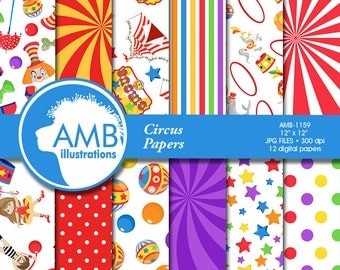 Circus digital papers, Carnival Papers, Circus scrapbook papers, Clowns, Circus animals, Birthday Party, commercial use, AMB-1159