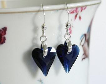 Swarovski Crystal Heart Earrings, Crystal Heart, Blue Crystal Earrings, Navy Blue Earrings, Blue Heart Earrings, Dark Blue Earrings