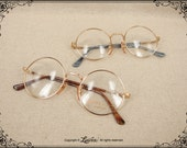 Lurveau® Authentic Vintage 22K Gold-plated Italian Round Glasses (no lens)