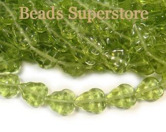 SALE 8 mm x 10 mm Olivine Czech Glass Leaf Bead - 25 pcs