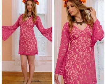 Crochet Lace Dress, Crochet Lace Bridesmaid Dress, Boho bridesmaid dress, Crochet Lace Bell Sleeve Dress, Bell Sleeve Wedding Dress,