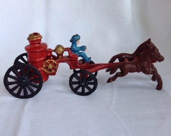 Vintage Cast Iron Fire Pumper, Horse Drawn with Driver