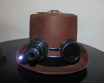 Steampunk Lighted Goggles Gears Winged Skull Top Hat