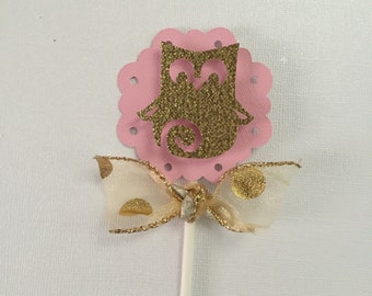 Gold Owl cupcake toppers