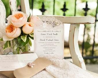 Vintage Wedding Invitations-set of 10