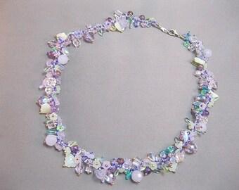 Lavender floral glass necklace