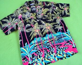 1940s 1950s Classic Vintage Hawaiian Shirt Repro Sun Surf Japan LARGE