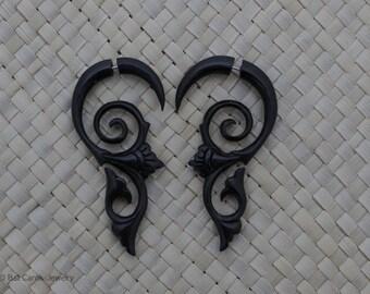 Fake Gauge Earrings, Horn Double Spiral Fake Gauges, Horn Fake Piercing Earrings