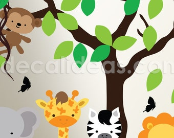Wall Decals Nursery, Baby Nursery Decor, Nursery Jungle Decal Safari Nursery Wall DecalETS50062