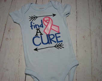 Find a Cure Embroidered Shirt -breast cancer awareness - find a cure