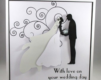 Handmade Large Silhouette Wedding Card, 3D,Bride and Groom,Personalise