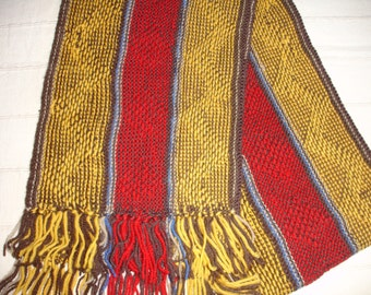Vintage handmade wool scarf long scarf red yellow knit scarf Knit wool scarf