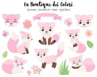 Pink Fox Clipart, Cute Digital Graphics PNG, Girly Foxes, Autumn, Forest, Girl Woodland Animals Clip art, Planner Stickers Commercial Use