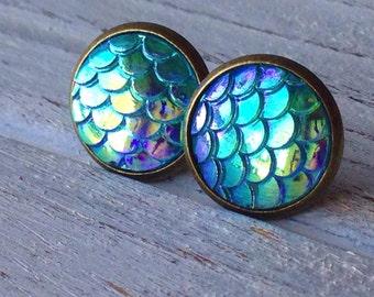 Mermaid Scale Stud Earrings,Fish Scale,Dragon Scale,Nautical,Summer,Beach,Ocean Jewelry