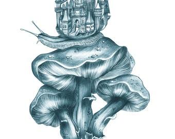 Snail Castle Mushrooms illustration design by Marisa Jiménez. LIMITED EDITION.