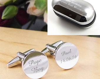 Mens Personalised Page Boy Wedding Day Custom Engraved Round Cufflinks - Personalised Engraved Gift Box Available