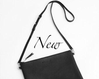 Black Pebbled Leather Clutch, Crossbody Pebbled Italian Leather Clutch, Oversize Clutch, Purse