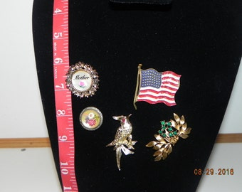 5 Vintage Pins; Flag, Mother, Bird,flower, and gold pin with green stones