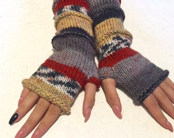 sale! Knit Fingerless gloves Mittens  Long Arm Warmers Boho Glove Women Fingerless Wrist multicolored gloves Ready to ship!