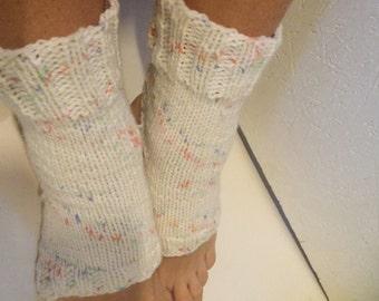 Hand Knit white multicolor Pilates Socks   women multicolors Yoga Socks    Dance Socks Slipper Socks Women  Socks read to shiping