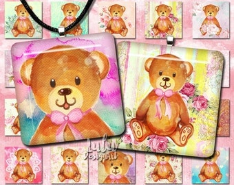 Teddy Bear Digital Collage Sheet; Watercolor teddy bear, 1 inch square images for pendants, magnets, buttons, 1x1 inch, digital stamp