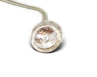 Handmade Sterling Silver Poppy Necklace Silver Poppy Pendant Flower Necklace