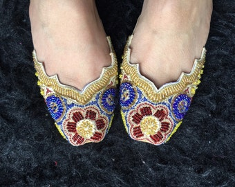 Women shoes indian flat asian bridal shoes flat teen shoes bead work on shoes flat slippers slip ons women shoes indian flat shoes by Sami