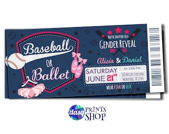 Baby gender reveal - Baseballs or Ballet - Gender Reveal Idea - baseball shower - baseball gender reveal