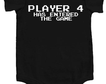 Player 4 Has Entered The Game Awesome Funny Baby Bodysuit One Piece Creeper Black/White Cool Personalized Baby Shower Gift