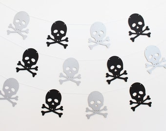Skull and Crossbones Pirate Party Banner - Customizable Colors