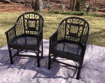 Vintage bamboo brighton chairs - pair