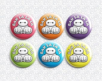 Big Hero 6 Baymax 6 Pack - Pinback Badge / Magnets / Sticky