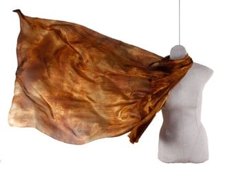 Brown silk scarf for women /  Shades of rust, olive and brown / evening scarves for women / Brown silk wrap for women