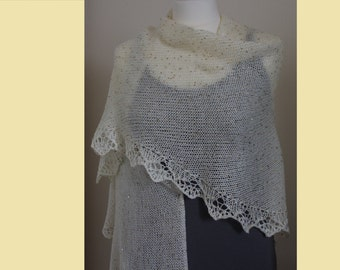 Knitted triangular beaded shawl
