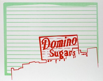 "Baltimore City Letterpress Poster | Domino Sugars sign | red & mint 8"" x 10"" Poster"