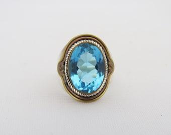 Vintage Sterling Silver & Brass Blue Topaz Dome Ring Size 7.25