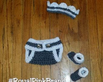 Crochet Diaper Cover, Crown, & Booties