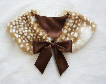 Ribbon Tie Fawn/Deer Fur Collar