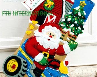 "Bucilla Christmas On The Farm ~ 18"" Felt Stocking Kit by Merry Stockings, Santa DIY"