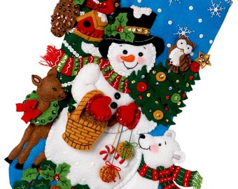 "Bucilla Woodland Snowman ~ 18"" Felt Christmas Stocking Kit #86201 Frosty Animals DIY"