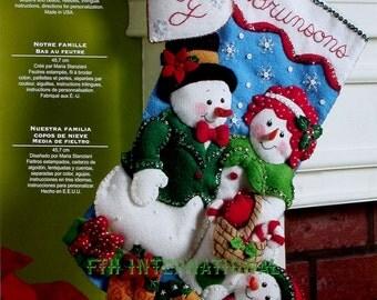 "Bucilla Our Family ~ 18"" Felt Christmas Stocking Kit #86141 Snowman, Mrs. Frosty DIY"