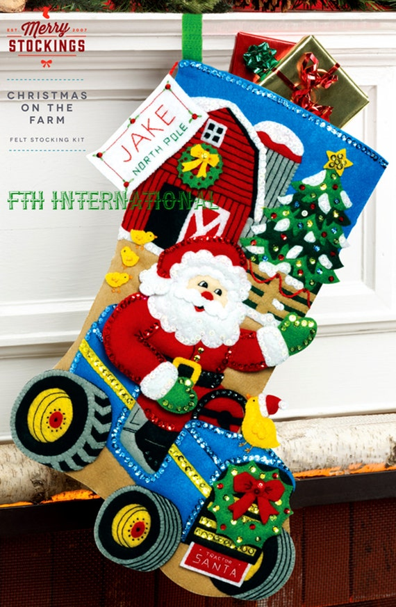 Bucilla Christmas On The Farm 18 Felt Stocking Kit By