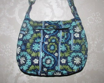 Handmade Quilted Purse, Blue Aqua 273A