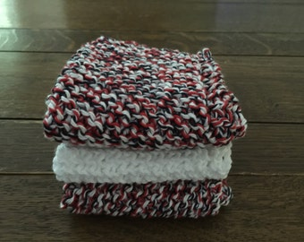 KNITTED WASH CLOTHs - 3 pk Red/Black/White and White - Cotton Simple