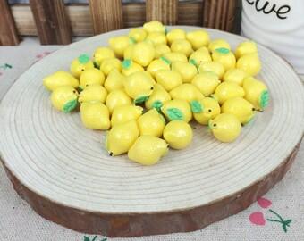10Pcs Kawaii DIY Artificial Miniature Fake Lemon Scrapbooking Accessories Embellishments Decoration Crafts Making:11*16MM