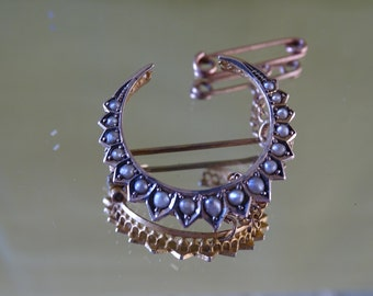 Antique Victorian 9 CT Seeded Pearl Hallmarked Crescent Moon Brooch