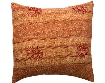 Kantha Cushion Cover - Terracotta and orange