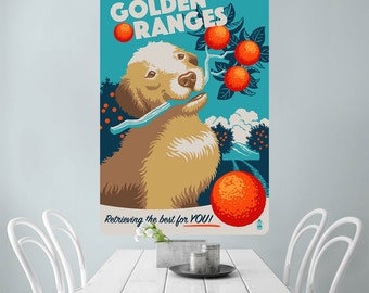Golden Retriever Dog Oranges Wall Decal - #60999