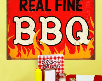 Real Fine BBQ Barbecue Flames Wall Decal - #57919