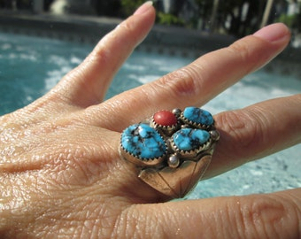 Turquoise, Coral and Sterling  Man's Ring Size 12.25